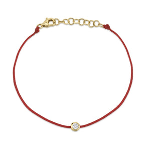 14K Yellow Gold Red String Diamond Bezel Bracelet