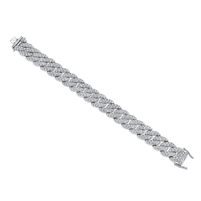 14K White Gold Diamond Pave Chain Bracelet