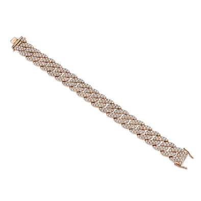 14K Rose Gold Diamond Pave Chain Bracelet