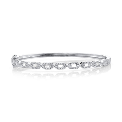 14K White Gold Diamond Link Bangle