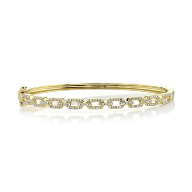 14K Yellow Gold Diamond Link Bangle