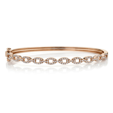 14K Rose Gold Diamond Link Bangle