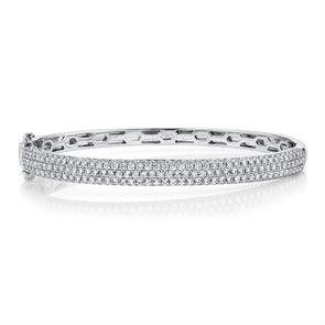 14K White Gold Diamond Pave Thin Bangle