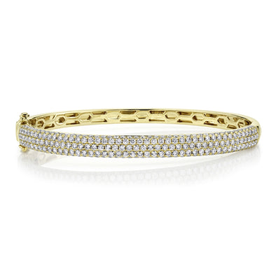 14K Yellow Gold Diamond Pave Thin Bangle
