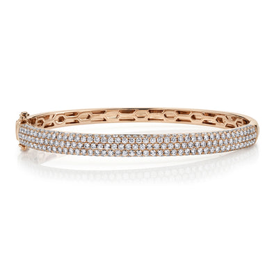 14K Rose Gold Diamond Pave Thin Bangle