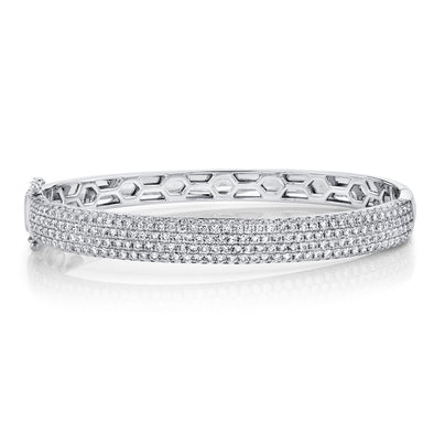 14K White Gold Diamond Pave Medium Bangle