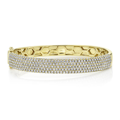 14K Yellow Gold Diamond Pave Thick Bangle