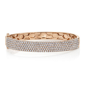 14K Rose Gold Diamond Pave Thick Bangle