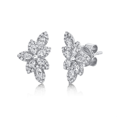 14K White Gold Diamond Flower Stud Earring