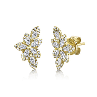 14K Yellow Gold Diamond Flower Stud Earring