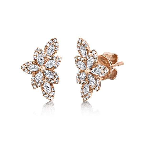 14K Rose Gold Diamond Flower Stud Earring
