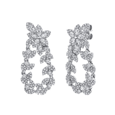 14k White Diamond Marquise Flower & Leaf Drop Earrings