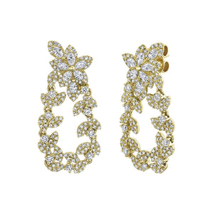 14k Yellow Diamond Marquise Flower & Leaf Drop Earrings