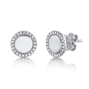 14K White Gold Diamond High Polish Disc Stud Earring