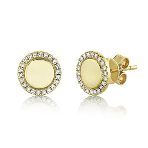 14K Yellow Gold Diamond High Polish Disc Stud Earring