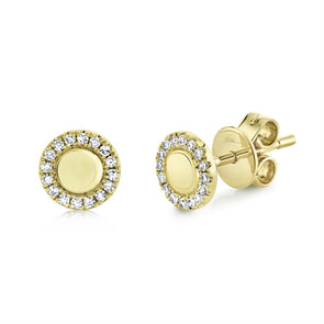 14k Yellow Diamond High Polished Stud Earrings
