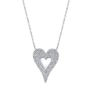14k White Diamond Heart High polished center Large Necklace