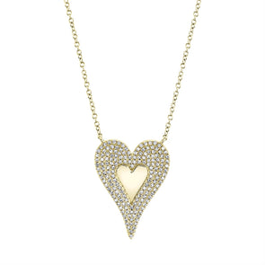 14k Yellow Diamond Heart High polished center Large Necklace