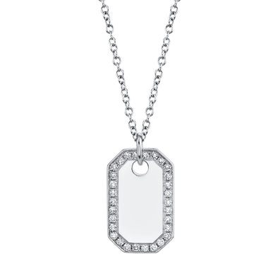 14k White Gold Diamond Dog Tag Necklace