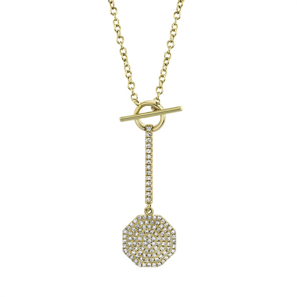14k Yellow Gold Diamond Pave Octagon Lariat Necklace