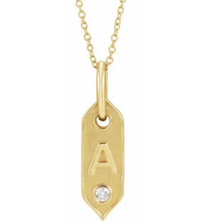 14K Yellow Initial Diamond Tag Necklace