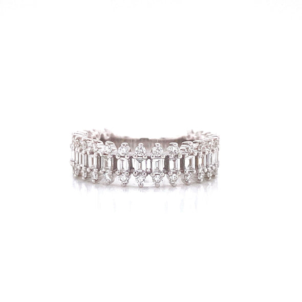 14K White Gold Round + Baguette Diamond Band