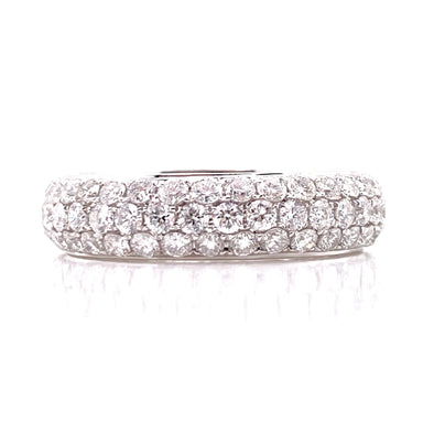14K White Gold Diamond Pave Thick Eternity Band