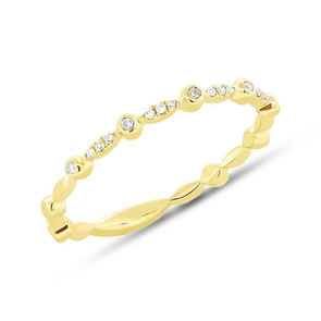 14K Yellow Gold Alternating Bezel Solitaire Diamond Stacking Ring