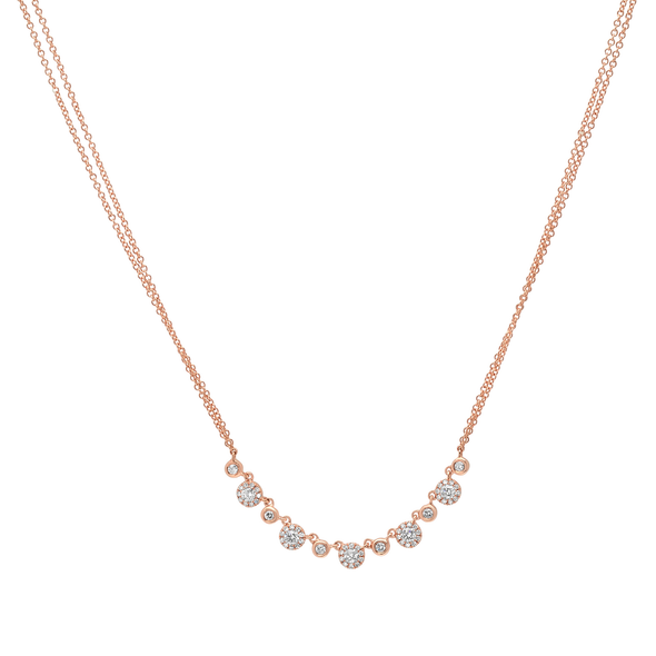 14K Yellow Gold Alternating Diamond Halo Necklace with Double Chain