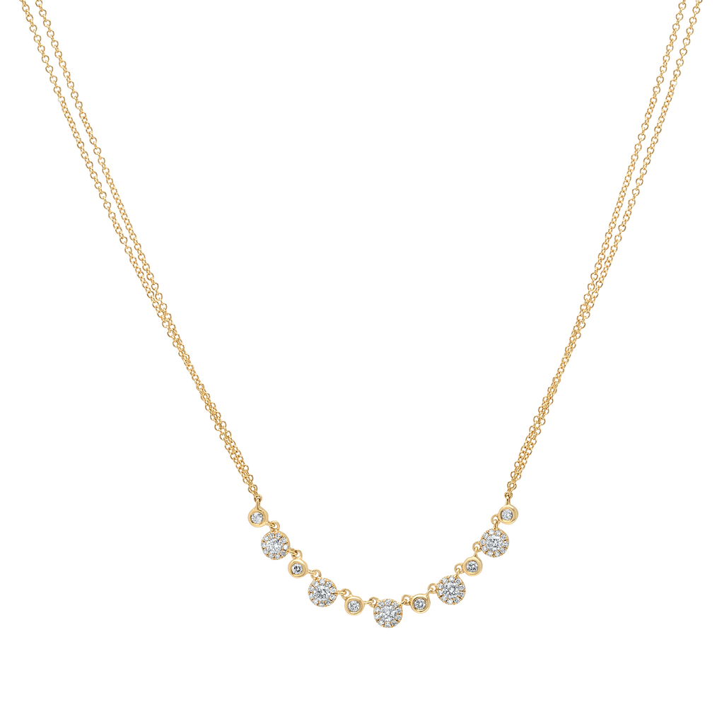 Alternating Diamond Halo Necklace with Double Chain