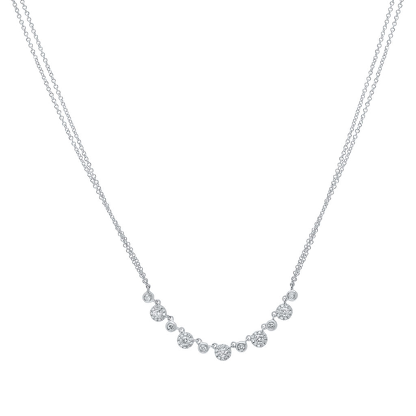 14K White Gold Alternating Diamond Halo Necklace with Double Chain
