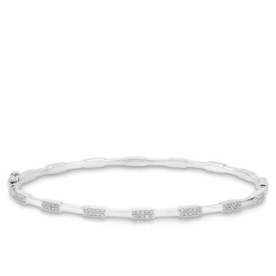 14K White Gold Alternating Diamond Bangle