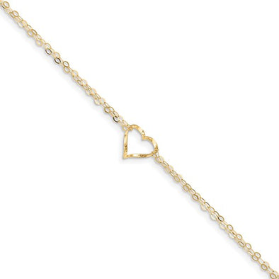 14k yellow Gold Double Strand Heart Anklet