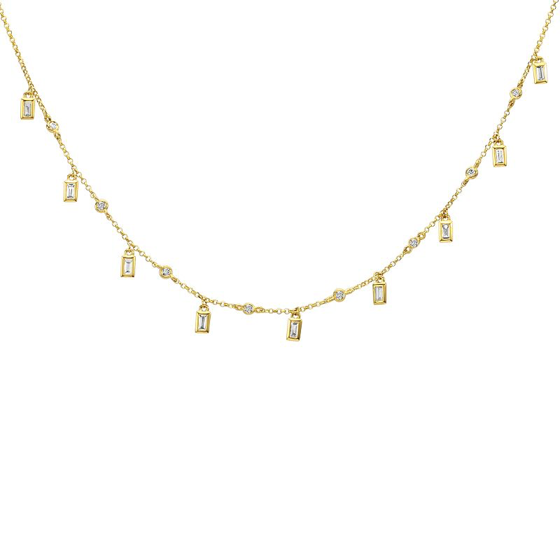 Baguette and Round Diamond Layering Necklace
