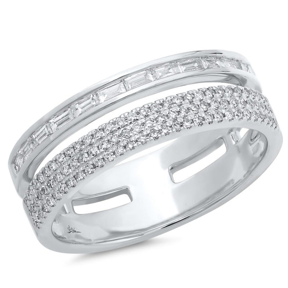 Baguette and Triple Row Diamond Ring