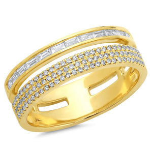 14K Yellow Gold Baguette and Triple Row Diamond Ring