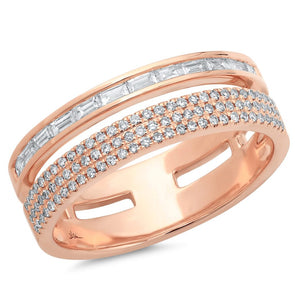 14K Rose Gold Baguette and Triple Row Diamond Ring