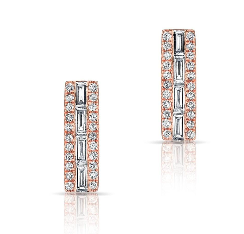 Baguette Diamond Bar Studs