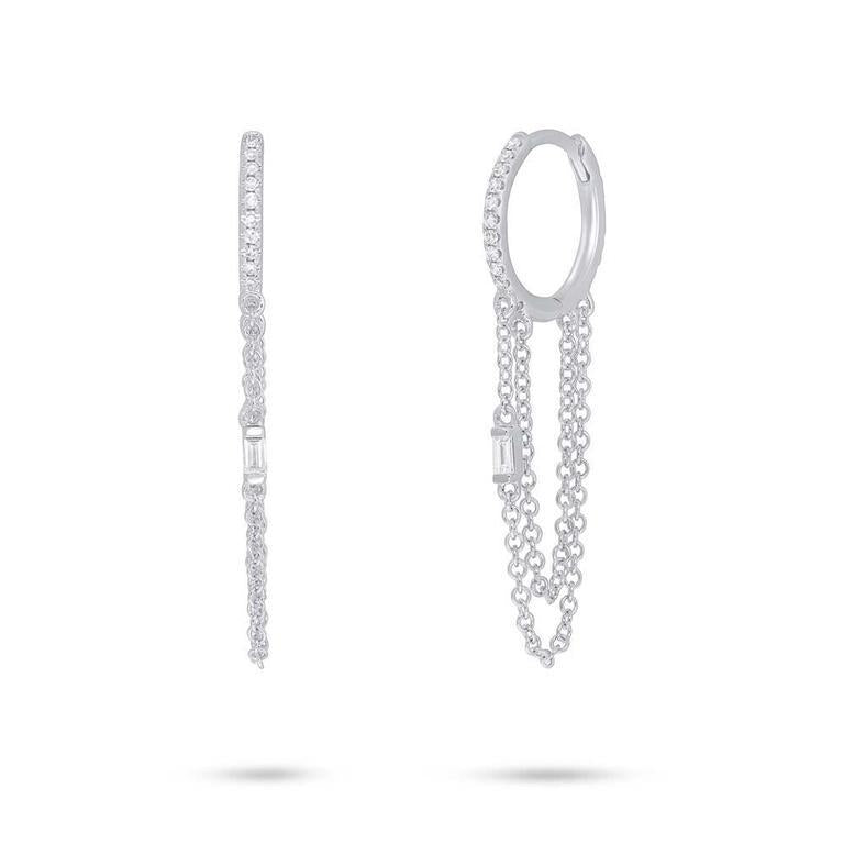 Baguette Diamond Chain Earrings