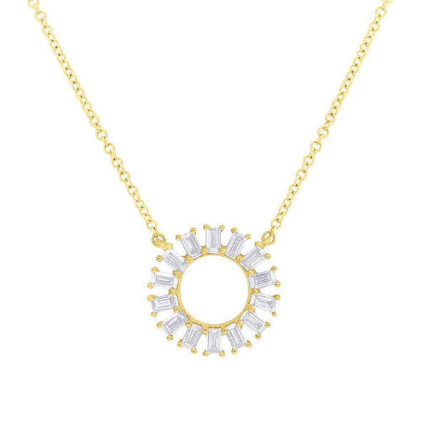 14K Yellow Gold Baguette Diamond Circle Necklace