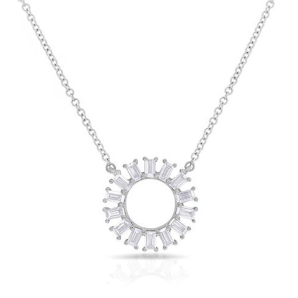 Baguette Diamond Circle Necklace
