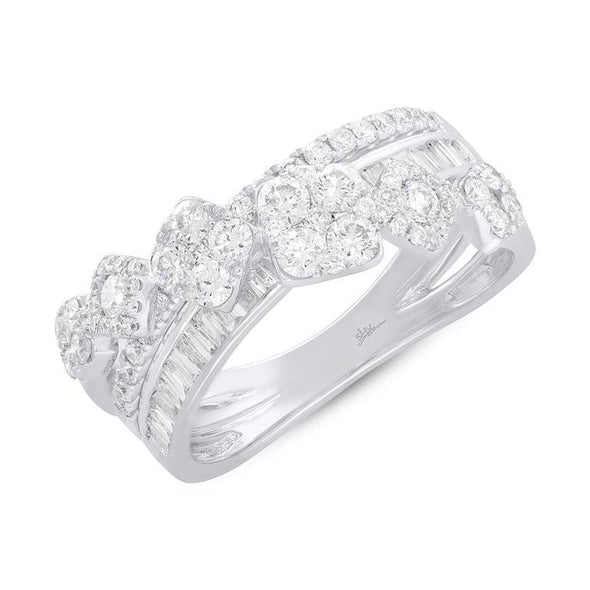 14K White Gold Baguette Diamond Crossover Ring