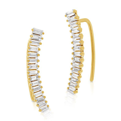 Baguette Diamond Ear Climbers