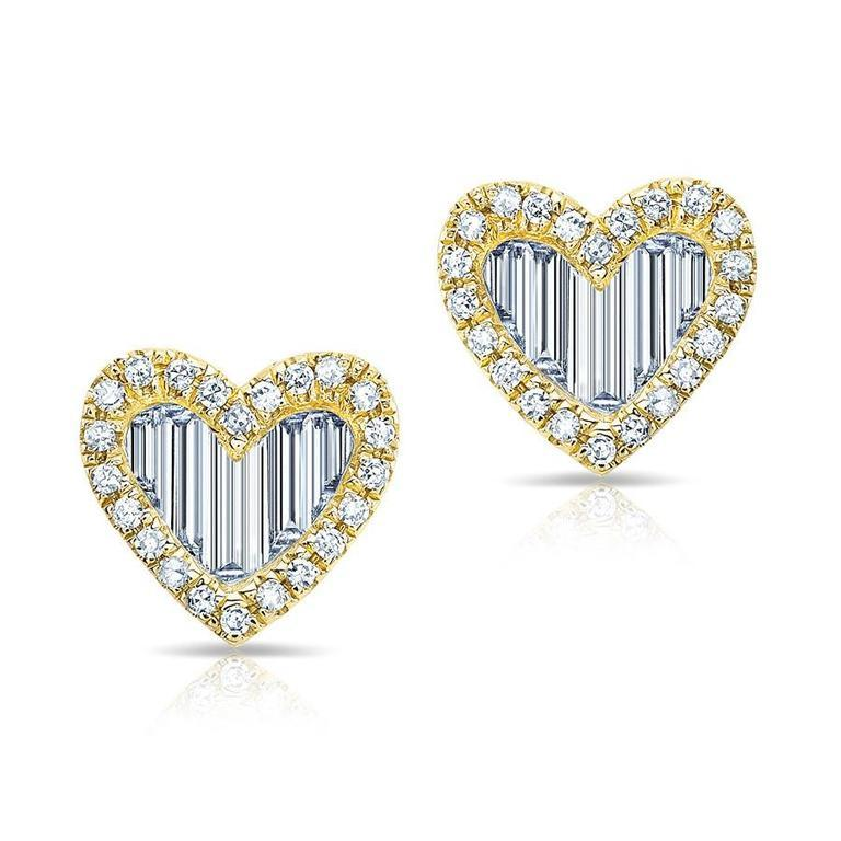 Baguette Diamond Heart Stud Earrings