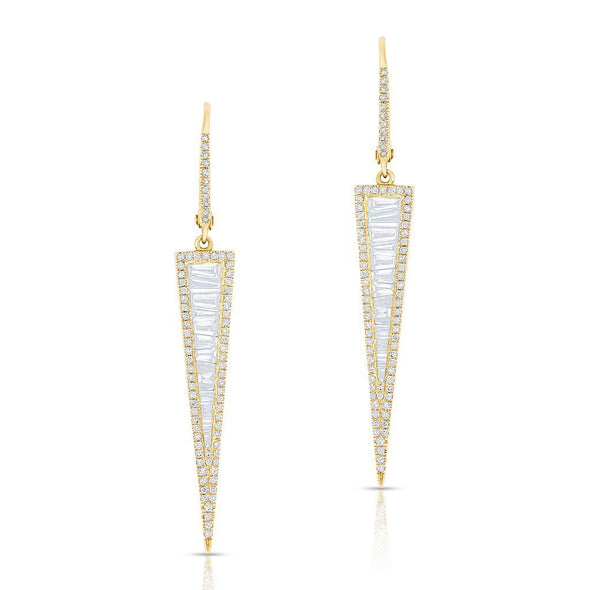 Baguette Diamond Long Dagger Earrings