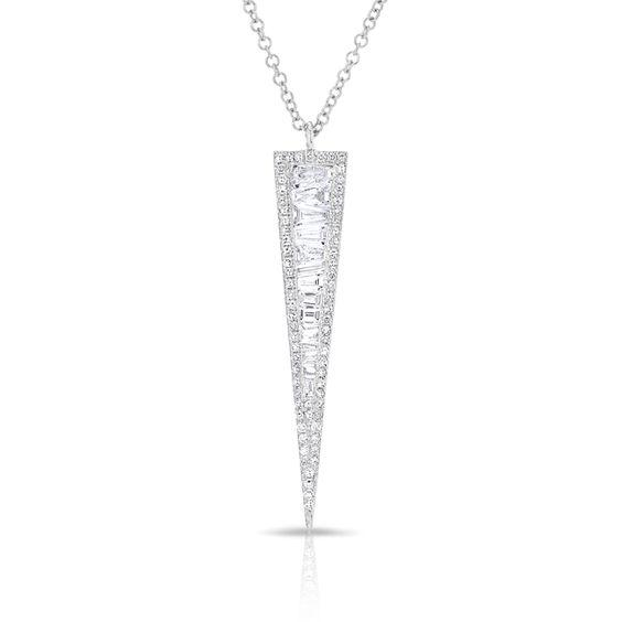 Baguette Diamond Long Dagger Necklace