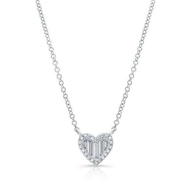 Baguette Diamond Petite Heart Necklace