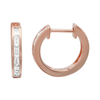 14K Rose Gold Baguette Diamond Single Row Huggie Earring