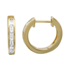14K Yellow Gold Baguette Diamond Single Row Huggie Earring
