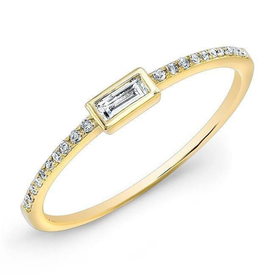 14K Yellow Gold Baguette Diamond Stackable Ring